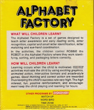 Alphabet Factory disk back